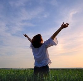 worship-woman-field-sky-arms